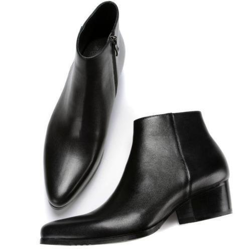 Mens Punk Leather Pointy Toe Ankle Boots Cuban Heel Side Zip Chelsea Shoes Size