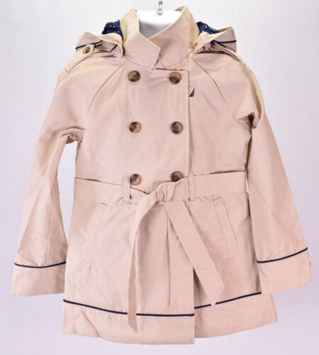 Youth Girl/'s Nautica NCL0022 Hooded Trench Coat Tan