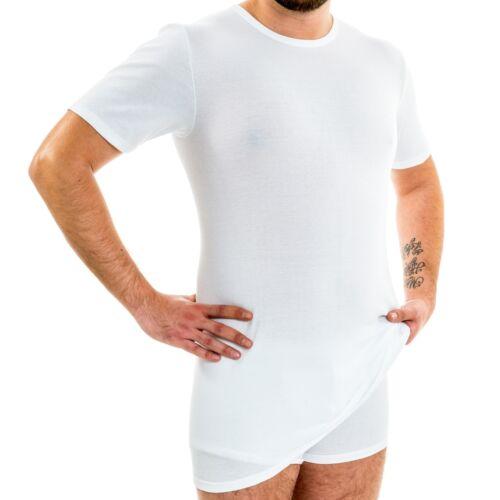 1//4 Uomo braccio sotto Camicia EXTRA LUNGA SHIRT corto manica corta Fibra Naturale BW HERMKO 3847