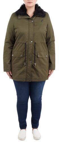 cotone collo pelliccia con da Cappotto di cotone cappuccio twill con 8 alto di donna in kaki in giacca Parka da 24 8SYvg