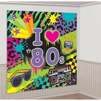 I love the 80'S SCENE SETTER Birthday Party Backdrop Wall Decoration Music NEW