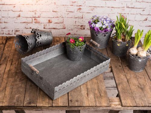 manche bois Zinc métal gris Vintage antique style DECO plateau Felini rectangulaire 42 cm