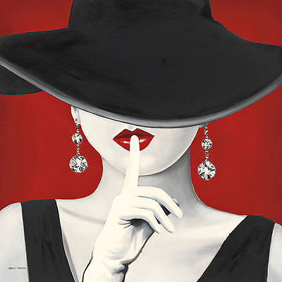 Marco Fabiano: Haute Chapeau Rouge I Fertig-Bild 45x45 Wandbild Mode Mädchen
