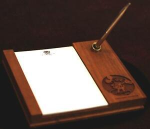 Disneyland 1985 Mickey Mouse Lasercraft Wood Desk Pen Notepad Walt Disney Prod