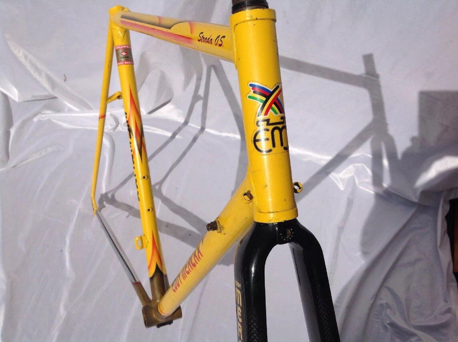 Eddy merckx strada os cerebro Vintage marco de carbono tenedores 1990s-CTC 57.5CM marchas