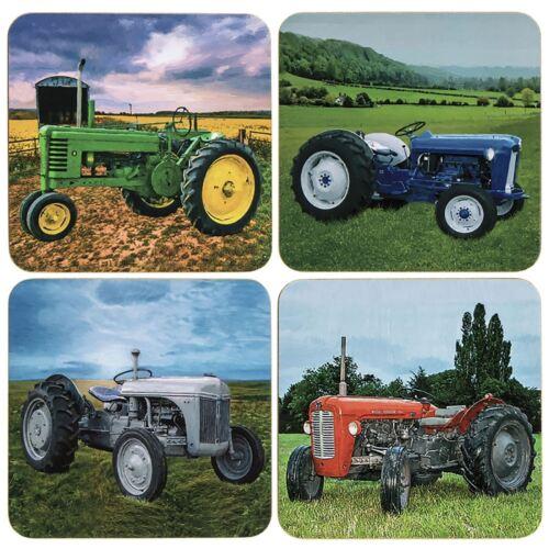 Lot de 4 vintage tracteurs agricoles Design Thé Tasse à café sous-verres table de salle à manger Tapis