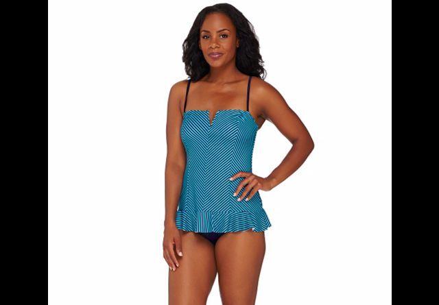 Spanx Striped Ruffled Swim Dress NWOT SIZE 10 QVC