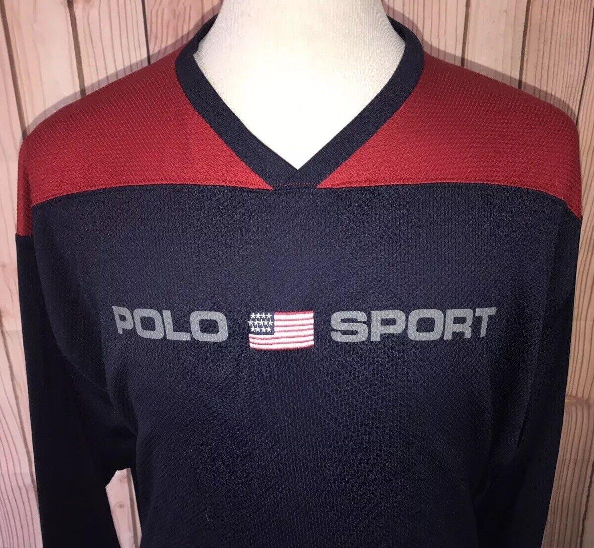 Vintage POLO SPORT Ralph Lauren USA Flag RL Spell Out Mesh L S T Shirt Sz XL