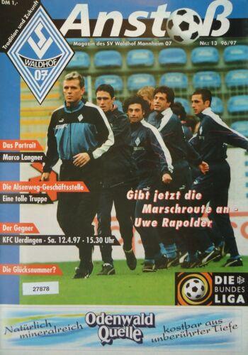 KFC Uerdingen Programm 1996//97 SV Waldhof Mannheim