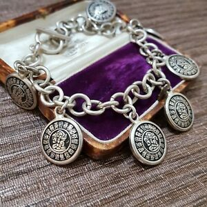 """Vintage 925 Sterling Silver Bracelet, Aztec Coin Charm, 8"""" Long, Heavy, Boxed"""
