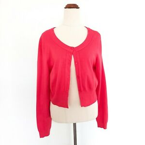 Review-Size-16-Pink-Soft-Long-Sleeve-Cropped-Cardigan-Women-039-s-Top