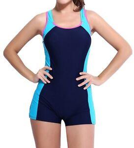 Womens One Piece Swimsuit Boyleg Swimwear Sports Short ...