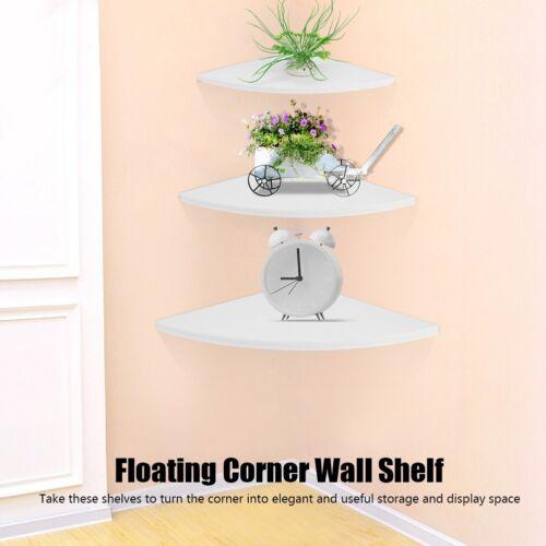 3Pcs Corner Shelf Floating Wall Mount Holder Storage Rack Display Home Decor US