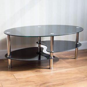 Image Is Loading Cara Black Gl Chrome Coffee Table 2 Tier