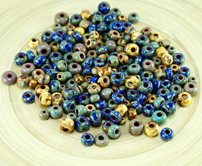 Anissa Exclusive Picasso Mix Czech glass seed beads Rustique Bleu Multicolore St...