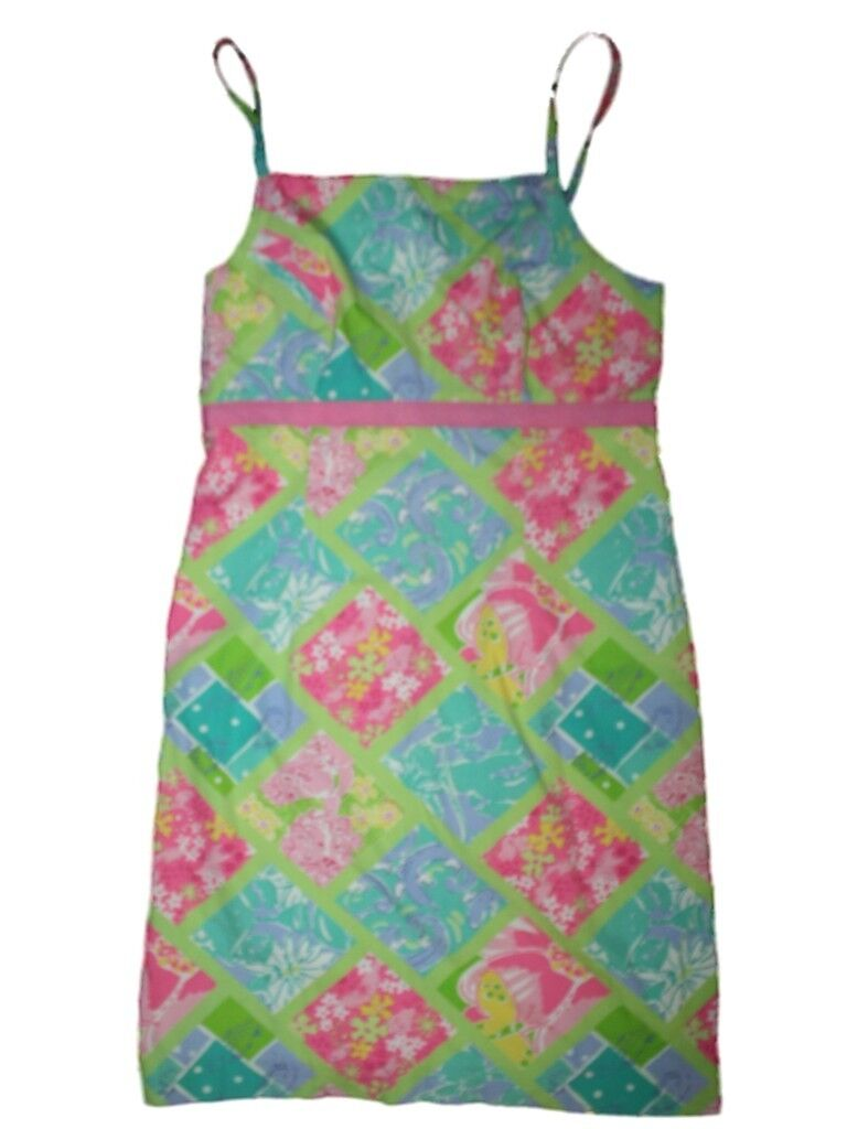 Women Lilly Pulitzer Surf & Patch Work Spring Summer Dress Size Size 4