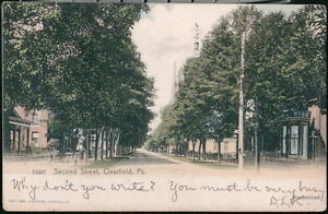 CLEARFIELD-PA-Second-Street-Antique-Town-View-Old-Pennsylvania-Postcard-Vtg-UDB