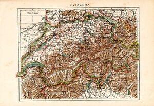 La Cartina Geografica Della Svizzera.Carta Geografica Antica Svizzera Con Laghi Della Lombardia Suisse 1900 Old Map Ebay
