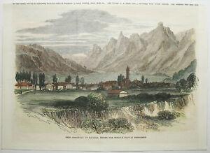 OBERAMMERGAU-Gesamtansicht-Orig-handkolorierter-Holzstich-von-ca-1870