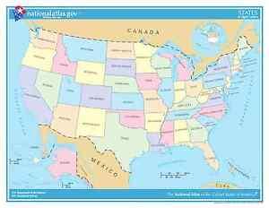 USA States (Light Colors) Laminated Wall Map