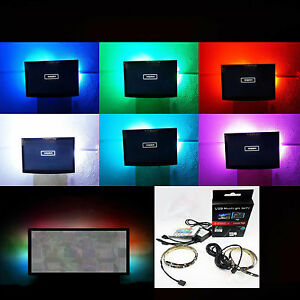 rgb led usb pc tv fernseher backlight hintergrund beleuchtung samsung sony lg ebay. Black Bedroom Furniture Sets. Home Design Ideas