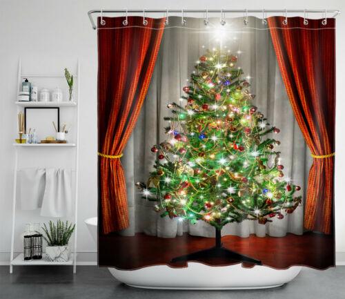 Christmas Tree Baubles Santa Claus Snowman Waterproof Fabric Shower Curtain Set