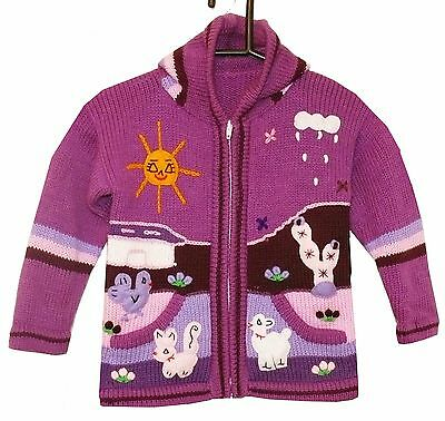 Strickjacke Lila rosa violett Bauernhof Alpaka Peru Zoo Gr Kapuze 110*116