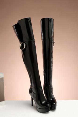 sottile Comfort sopra da Donna tonda 4 Taglia Plus ginocchio il Scarpe Punta 16 col donna Stivali tacco vwAf4qgf