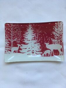 Michel Design Works Rectangular Glass Soap Dish Snowy Night Red New