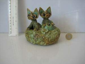 RARE-VINTAGE-YARE-DESIGNS-ENGLAND-2-DRAGONS-HATCHING-IN-NEST