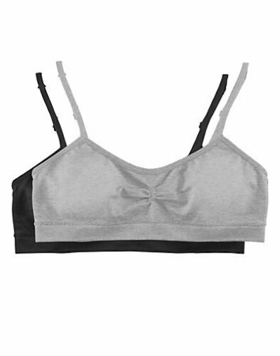 Hanes Girls Molded Cup Bra 2-Pack Seamless Wirefree Adjustable straps Removable