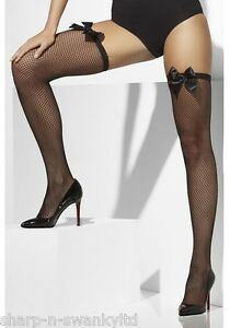 a6f534c11 Ladies Sexy Black Bow Topped Fishnet Fancy Dress Stockings Hold Ups ...