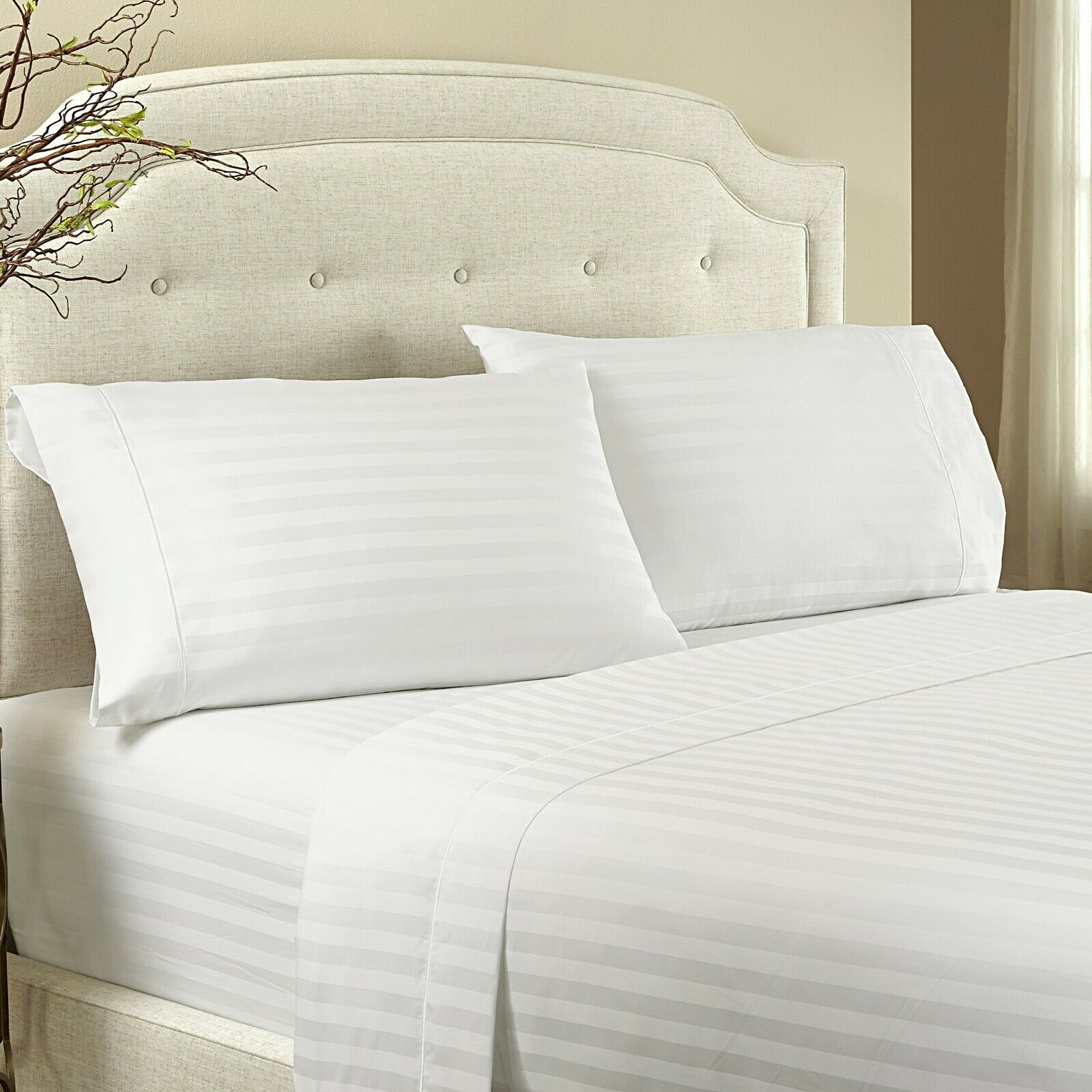 Damask White Stripe 3 PC 5 PC Duvet Set 1000 Thread Count Egyptian Cotton