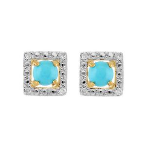 Beautiful 9kt Oro Giallo Turchese Orecchini A Lobo & Staccabile Diamanti Taglio Quadrato Fast Color Fine Jewelry Sets