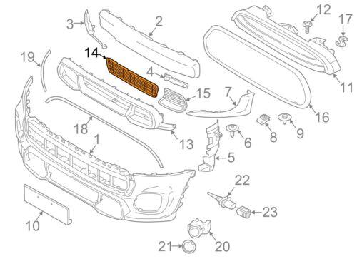 MINI Nuovo Originale F55 F56 F57 JCW PARAURTI ANTERIORE INFERIORE CENTRALE GRIGLIA 7360738