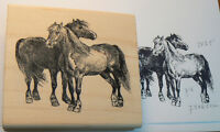 Horses 3x2.75 Rubber Stamp Wm (no Background) P12