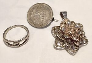 Solid-Silver-Victoria-1887-Shilling-Brooch-Sterling-Rose-Pendant-And-Ring