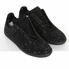 MAISON MARTIN MARGIELA crushed crystal shoes black rhinestone sneakers 36.5 NEW