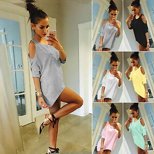 Fashion-Womens-Summer-Off-Shoulder-Loose-Casual-T-shirt-Long-Mini-Blouse-Top