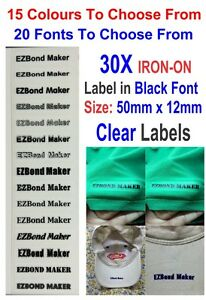 Details about 30x Clear Labels Black Font Iron On Name Labels Tags Printed