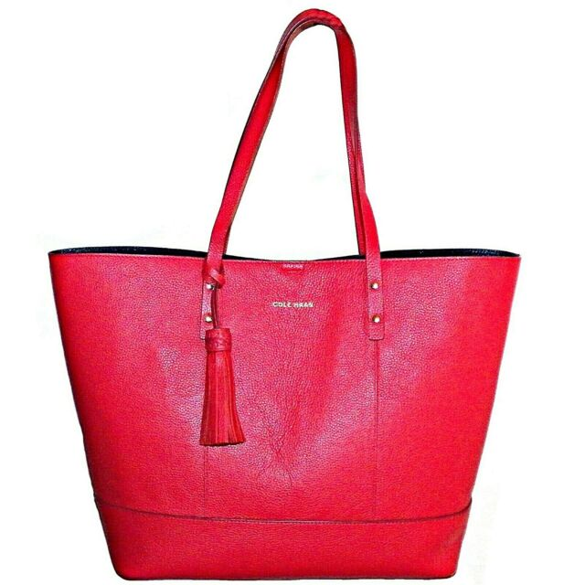 e10f45afc86 Cole Haan Bayleen Large Pebbled Leather Shopper Tote Bag Laptop Purse True  Red