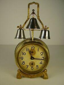 Gelernt Antiker Seltener Jugendstil 3 Glocken Wecker Um 1890