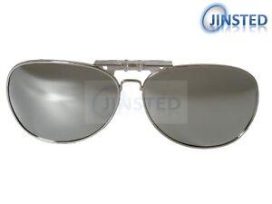 Plata-Clip-Espejados-Gafas-de-sol-piloto-sunnies-Flip-Up-Parasoles-Moda-ACP020
