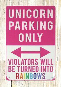 US-SELLER-Unicorn-parking-only-tin-metal-sign-interior-stylist