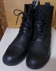Stiefelette-Schnuerstiefelette-Gr-45-Stallschuh-schwarz-Obermaterial-Leder-1