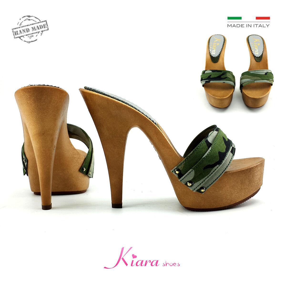 Zuecos camuflaje-Zuecos-zapatos Made in Italy n °desde 35 a 42 - Talón 13