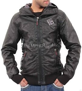 Ecko-Men-039-s-Designer-Faux-Leather-Jacket-Bomber-Bikers-Black-Hooded-ES