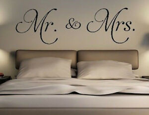 Details about Mr and Mrs Vinyl wall Decal Just Married Master Bedroom  Personalize Wedding gift