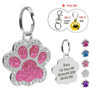 Personalized-Dog-Tags-Engraved-Puppy-Pet-ID-Name-Collar-Tag-Bling-Paw-Glitter