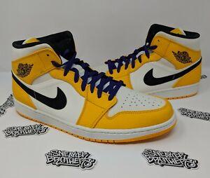702f33fb9649f5 Nike Air Jordan Retro I 1 Mid SE Lakers University Gold Purple Black ...
